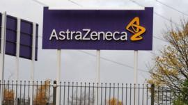 An AstraZeneca sign