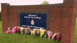 Flowers outside RAF Odiham