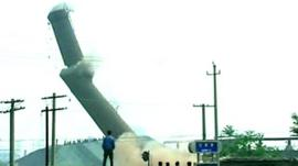 A chimney is demolished in China