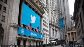 Twitter logo outside the New York Stock Exchange
