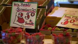 Fresh strawberries for sale