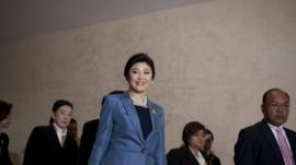 Thai Prime Minister, Yingluck Shinawatra, leaves the Constitutional Court