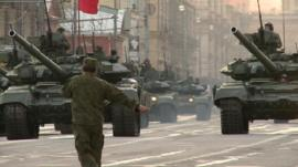 Russian tanks rehearsing for parade