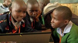 Children using their new computer