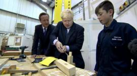 David Cameron, Boris Johnson and a student