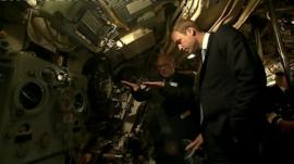 Prince Williams touring HMS Alliance at the Royal Navy Submarine Museum in Gosport, Hampshire