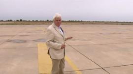 John Simpson at deserted airport