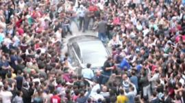 PM Erdogan's car mobbed by protesters