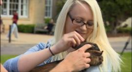 Bath Spa University student stroking a goat