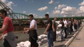 Volunteers on banks of River Sava