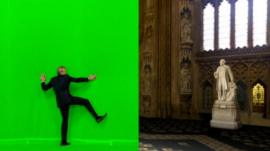 Jeremy Vine demonstrates how a green TV backdrop can vanish and reveal a virtual House of Commons