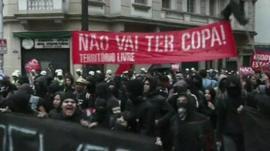 People marching through Sao Paulo