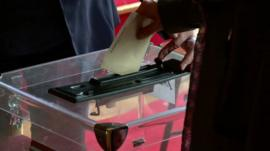 A ballot being cast