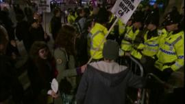 Protesters and police