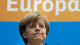 German Chancellor and leader of the Christian Democratic Union (CDU) Angela Merkel addresses a press conference at the CDU headquarters