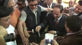 Presidential candidate Marshall Abdel Fattah El Sisi votes