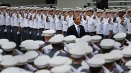 U.S. President Barack Obama enters the stadium at West Point to give the commencement address at the graduation ceremony at the U.S. Military Academy on May 28, 2014 in West Point, New York