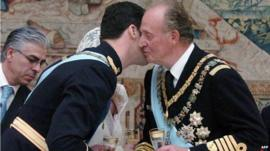 Spanish Crown Prince Felipe of Bourbon receiving a kiss from his father Juan Carlos of Spain