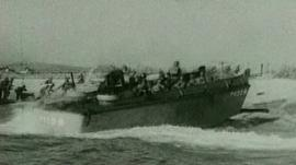 Boat during D-Day landing