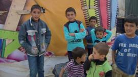 Syrian children in Bekaa Valley refugee camp, Lebanon