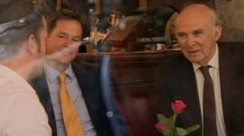Nick Clegg and Vince Cable in pub