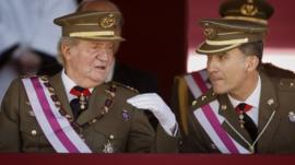 King Juan Carlos and Crown Prince Felipe on June 3