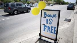 A sign celebrating the release of US Army Sergeant Bowe Bergdahl