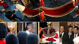 Montage of images shows Queen's arrival at State Opening of Parliament
