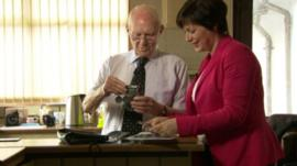 Former RAF pilot Bill Eames shows BBC Newsline's Donna Traynor his medal collection, which were attained during World War Two.