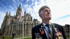Veteran outside Bayeux Cathedral