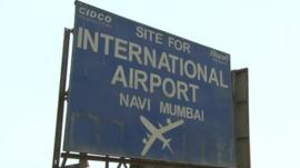 Mumbai airport site sign