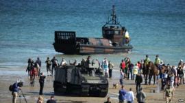 Military craft on beach
