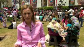 Orla Guerin reports from Cairo at a gathering of supporters of the new president
