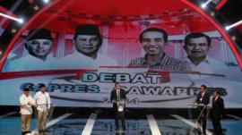 Indonesian presidential candidates during TV debate