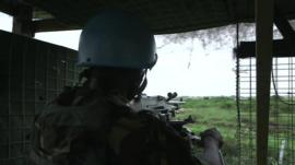 UN peacekeeper in Juba camp