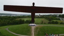 Aerial view of the Angel of the North