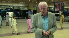 Mike Wooldridge inside Karachi airport