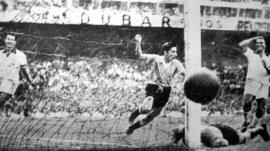 Alcides Ghiggia scores the goal that won the 1950 World Cup
