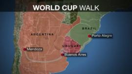 Map showing the walkers' route across Argentina, Uruguay and Brazil