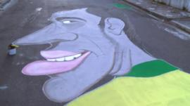 The street painting of Neymar