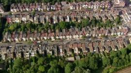 Aerial picture of terraced houses