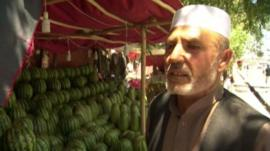Afghan fruit seller