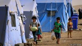 Children at a refugee camp in Iraq