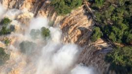 Aerial shot of Iguazu Falls