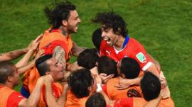 Chile celebrate Jorge Valdivia's goal against Australia