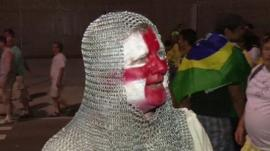 England fan dressed as knight