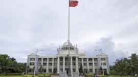 An administration office building on the island called Yongxing by the Chinese