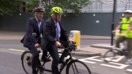 Jeremy Paxman and Boris Johnson on a tandem