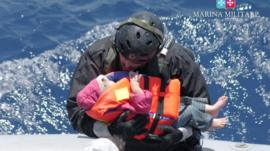 Italian Navy migrant child rescue