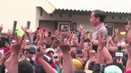 Campaigning in Indonesia election